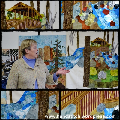 Jan Hearn & views of her quilt panel Creekside Park Bridge Sisters, OR.jpg