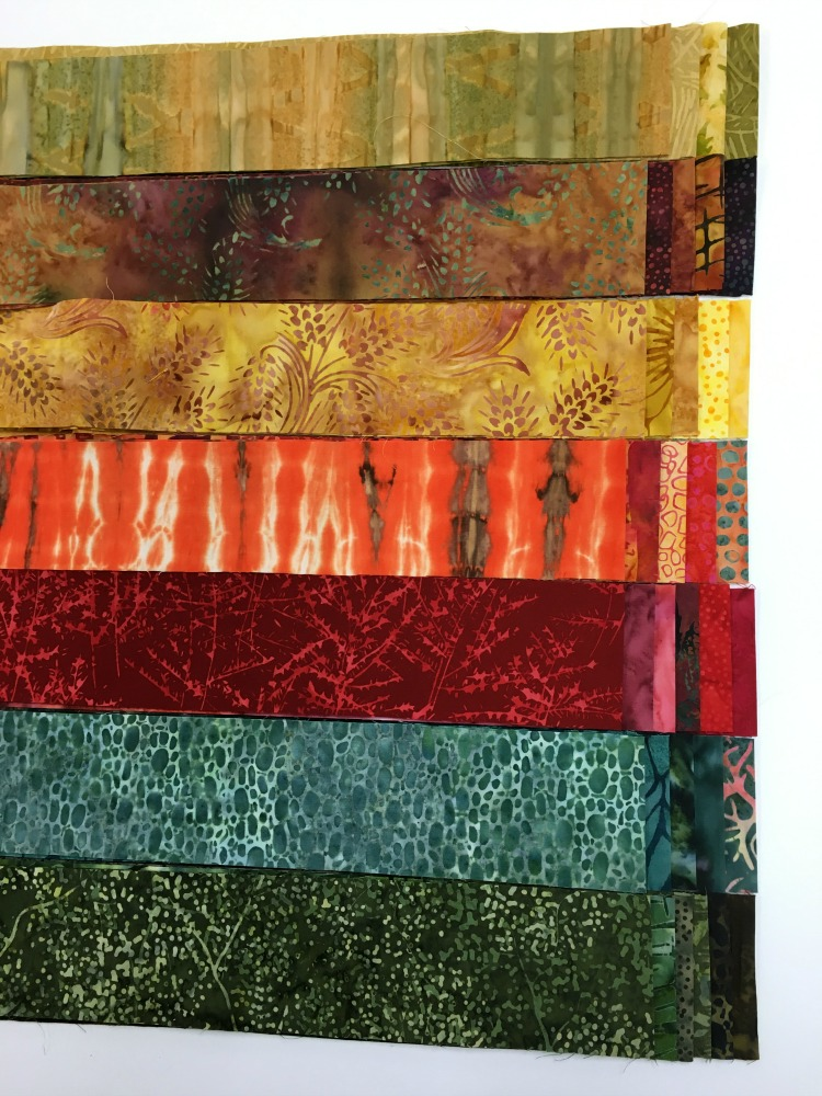 I've already finished two and am working on a third from our Autumn Leaves  batik strip roll (to match my rug). For the batik quilt I sorted my strips  into ...